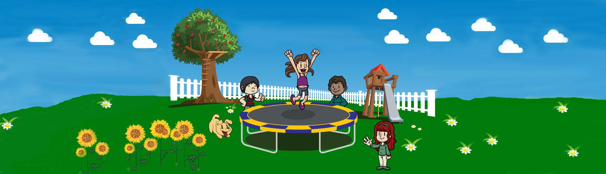 backyard scene with Best Trampolines: Vikan Trampolines